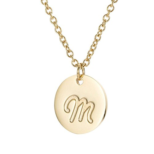 MMTTAO Initial Necklace 18K Gold Filled Disc Letter Alphabet Monogram Necklaces for Women Girls Stainless Steel Personalized Pendant Necklace - Letter ()