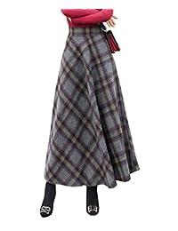 RIZ-ZOAWD Women's Elegant Stripe Woolen Long Elastic Waist Autumn Winter Warm Skirt