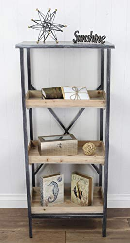 Cheung's Storage Rack Metal 4 tier shelf with 3 wooden shelves, Black, Gray