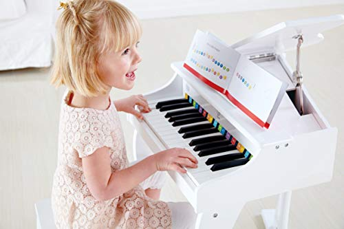 Hape Deluxe White Grand Piano | Thirty Key Piano Toy with Stool, Electronic Keyboard Musical Toy Set for Kids 3 Years+ by Hape (Image #2)