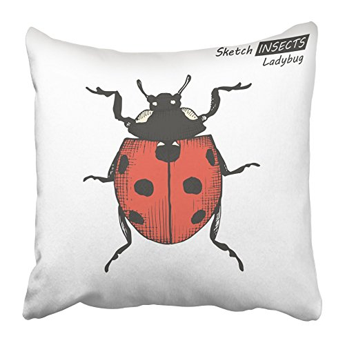 Emvency Decorative Throw Pillow Covers Cases Luck Ink Sketch Ladybug White Drawing in Vintage Style Antenna Black Bug Cartoon Chance Clip 16x16 inches Pillowcases Case Cover Cushion Two Sided]()