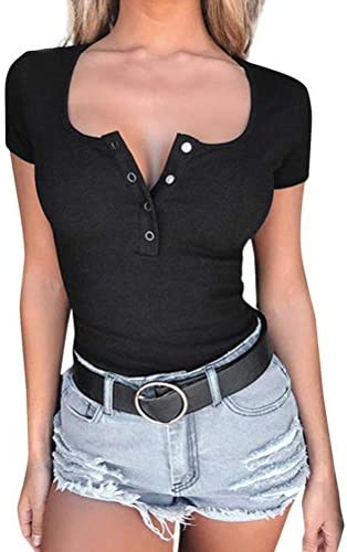 ORANDESIGNE damski t-shirt z dekoltem w kształcie litery U, Basic Top z guzikami, stretch, krÓtki rękaw, Henley Shirts Slim Fit Low-Cut, podkreślający figurę, top bluzki: Odzież