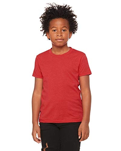(Bella + Canvas - Youth Short Sleeve Crewneck Jersey Tee - 3001Y - S - Heather Red)