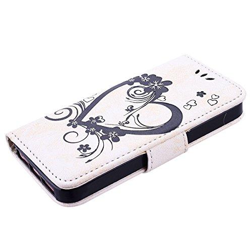 Coque Housse pour iPhone SE, iPhone 5S iPhone 5 Etui à rabat en cuir Couverture Portefeuille GrandEver iPhone SE 5S 5 Folio Cas Flip Cover en PU Cuir Case de Protection Papillon Cœur Motif Coque Coqui