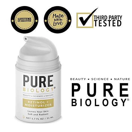 Pure Biology Premium Retinol Cream for Face, Clinically Proven Pepha-Tight, Retinol 15D & Hyaluronic Acid Day & Night Cream Face Moisturizer, Face Cream, Anti Aging Wrinkle Cream for Face, Women & Men