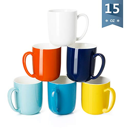 Sweese 6216 Porcelain Mugs for Coffee, Tea, Cocoa, 15 Ounce, Set of 6, Hot Assorted