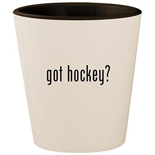 got hockey? - White Outer & Black Inner Ceramic 1.5oz Shot Glass -
