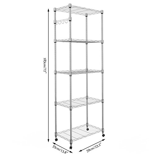 (Homdox 5 Tier Steel Wire Shelving Unit on Wheels,Chrome Shelves for Garage Kitchen Living Room,Heavy Duty Shelving Rack, 23.2 x 13.8 x 72 inch (L x W x H))