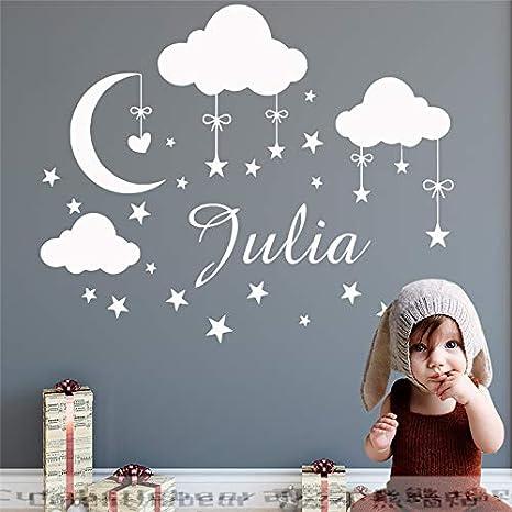 Nombre personalizado Tatuajes de Pared Nubes Luna Estrellas ...