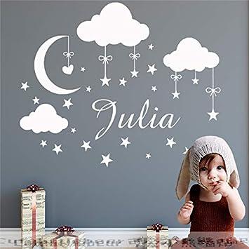 Personalisierte Name Wandtattoo Wolken Mond Sterne Wandaufkleber Babys Schlafzimmer Dekor Kundenspezifische Name Vinyl Kindergarten Wandbild 73x57 Cm Amazon De Baby