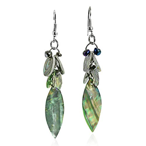Green-Tones Abalone Shell Leaf Natural Cluster Fish Hooks Dangle Earrings ()