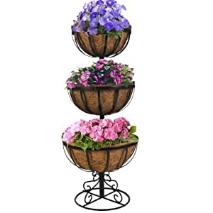 CobraCo 3TFP-B 3-Tier Floor Planter with 12-inch/14-inch/16-inch Baskets