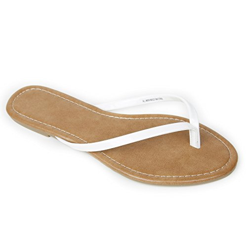Summer Slip Women's Flip On Shoes Sandals White Flat Ivy Flops dS6HxH