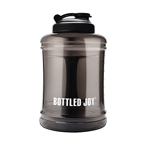 BOTTLED JOY 83 oz Large Water Bottle Upgraded Version Leak Proof Wide Mouth Plastic Sports Water Jug BPA-Free Durable for Outdoor Travel Office Gym (Black) -