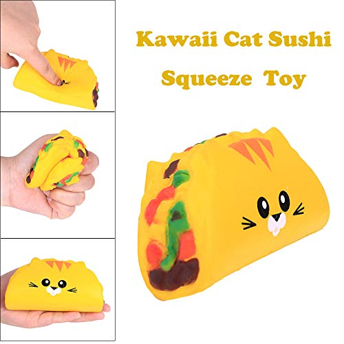 Sagton Kawaii Cat Sushi Stress Toys for Kids Adult Anxiety Slow Rising Squishies Scented Gift ()