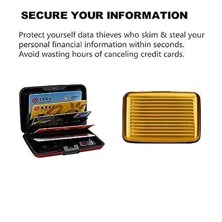 OBO HANDS Imperm/éable Titulaire de la Carte de Cr/édit Entreprise ID Carte Brillante de Balayage Anti-RFID de c/ôt/é en M/étal en Aluminium de Cas de Poche de Portefeuille Or