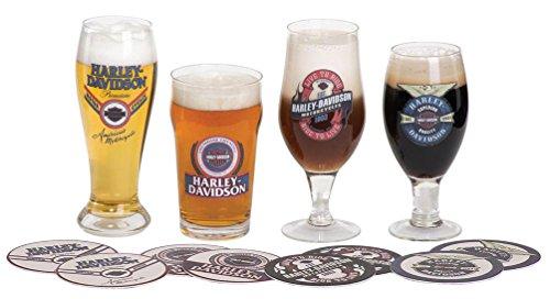Harley-Davidson Logo Craft Beer Glass Set w/Matching Coasters HDL-18771