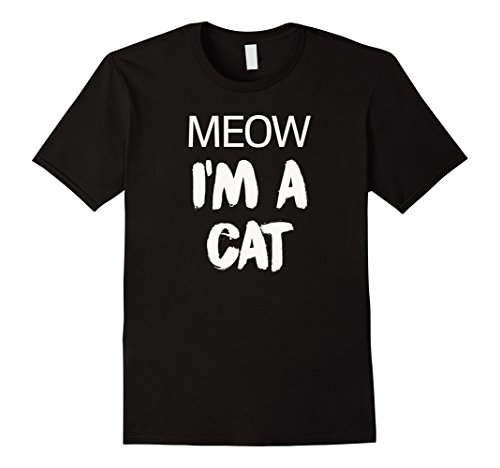 [Men's Meow I'm A Cat Funny Cat Lover Halloween Costume T-Shirt Tee 3XL Black] (Dark Chocolate M&m Costume)