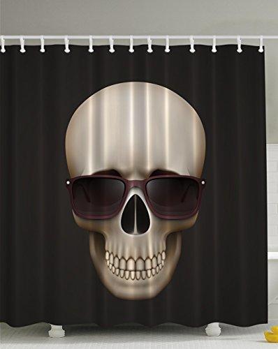 Skulls Decorations Skull with Sunglasses Digital Print Fabric Urban Man Cave Bath Decor Adventure Design Exclusive Designer Special Designed Artistic Pattern Shower Curtain - Machine Washable