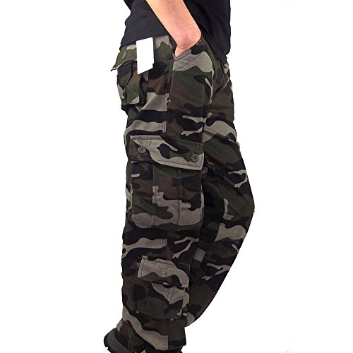HHei_K Mens Plus Size Casual Cotton Solid Camouflage Pocket Work Long Trouser Sport Overalls Pants by HHei_K (Image #1)