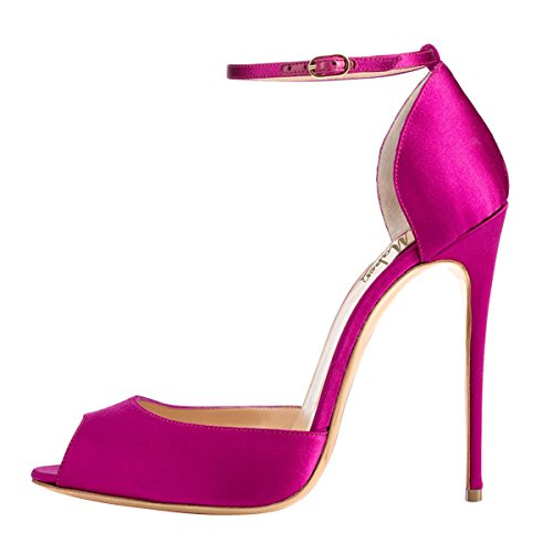 D'Orsay Ankle Size Joogo Purple Women Dress Pointed Pumps On 7 StrapHigh Toe Heels Stiletto Sandals Slip 54BfwqB