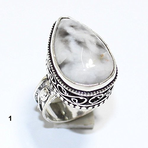 Overlay Silver Vintage (Dendrite Opal Ring Silver Overlay Fashion Jewellery Vintage Handmade Jewelry 7.50 US Size.)