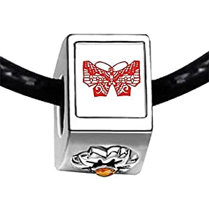 Chicforest Silver Plated Cartoon paper-cut Butterfly Photo Topaz Crystal November Birthstone Flower Charm Beads Fits Pandora Charms