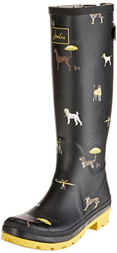 Joules Women's Wellyprint Rain Boot, Black Raining Dogs Rubber