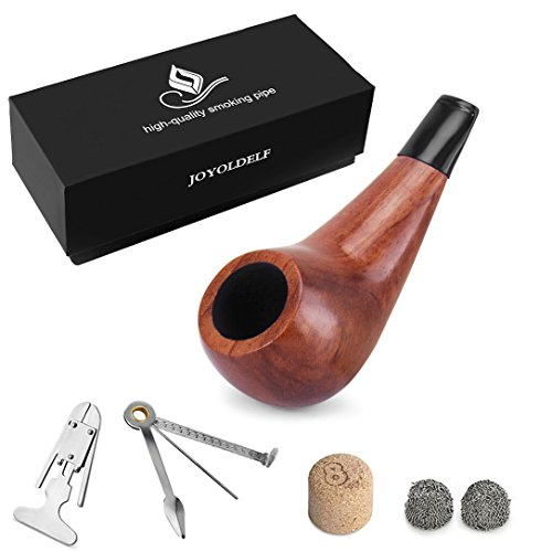 Rosewood Smoking Pipe Set-Small Shiny Smoking Pipe, with 3-in-1 Scraper & Pipe Accessories and Gift Box by DIMJ