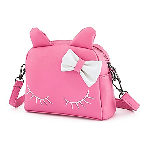 Pinky Family Cute Cat Ear Kids Handbags Candy Color Crossbody Bags PU Leather Shoulder Bags (pink) - Pink Kids Bag
