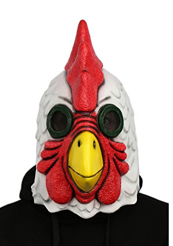 XCOSER Rooster Cock Mask Full Head Props for Halloween Cosplay Latex - Jacket Hotline Miami Costume