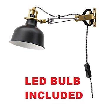 Ikea Clamp Wall Lamp Led (Bulb Included) Black Ranarp