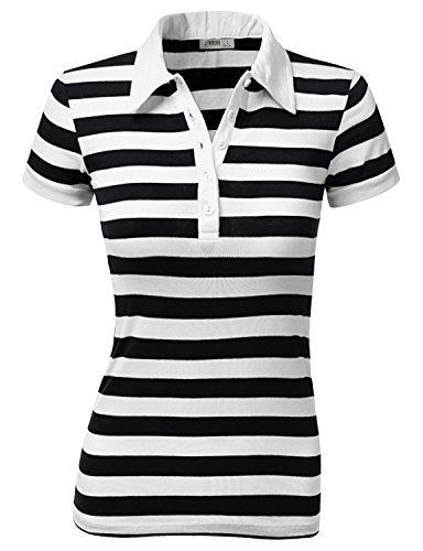 J.TOMSON Women's Striped Short-sleeve Polo shirt