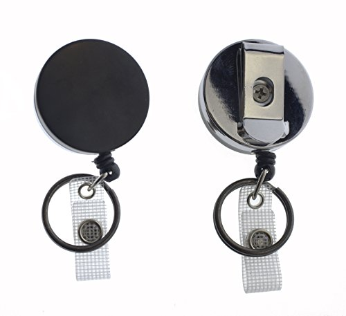 2 Pack - Heavy Duty All Metal Casing Retractable Badge & Key Reels with Thick Nylon Cord, Belt Clip, Reinforced ID Strap and Keyring by Specialist ID