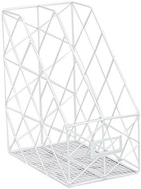 Lembeauty Ablagekorb aus Eisen für den Schreibtisch, Bücher, Zeitschriften, als Organizer, Ordnerregal, Ablagekorb, Eisen, weiß, Double Grids