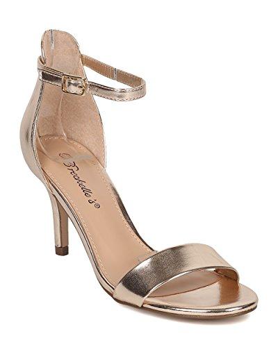 Breckelles Kvinner Leather Stiletto Sandal - Dressy, Formell, Bryllup - Ankel  Strap Hæl -