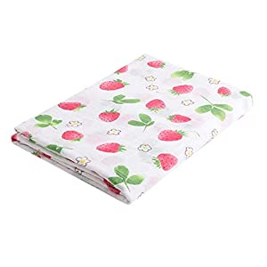 Newborn Baby Swaddle Wrap Blankets Soft Large Muslin Squares,120cm X120cm (Strawberry, 120 x 120 cm)