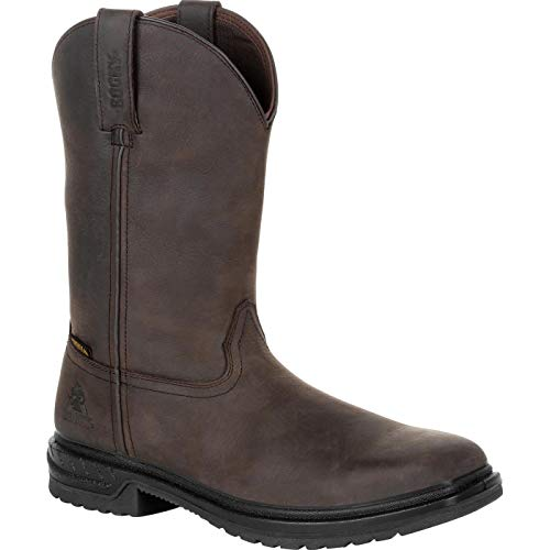 - Rocky Men's Worksmart Waterproof Western Work Boot Composite Toe Chocolate 12 EE