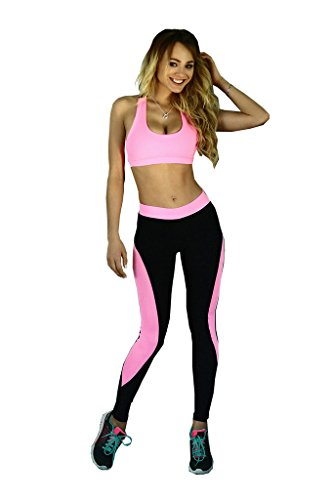 Women's 2 Piece Sports Suit Tights Yoga Exercise Pants Leggings Rose Red-S (Leisure Suits For Sale)