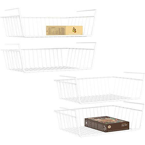 (Under Shelf Basket, Ace Teah 4 Pack Under Shelf Rack, Wire Rack Under Shelf Storage Organizer Saving Spaces for Pantry Cabinet Closet, White)