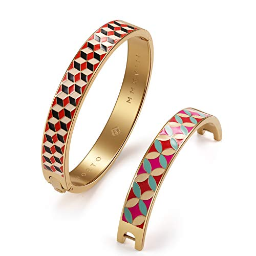 (Townshine 2 Pieces Women's Fashion Stainless Steel Bracelet Wearable Multi Colorful Fashion Bracelet Bangles Crafted Enamel Gifts for)