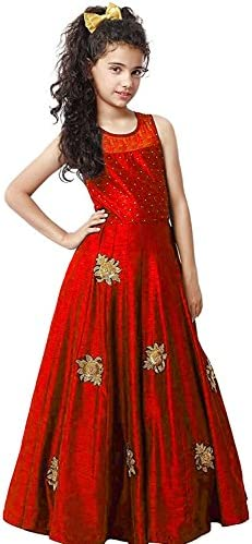 42d093980 Myozz Kids Girl s Birthday Party Wear Semi Stitched Salwar Suit Gown ...
