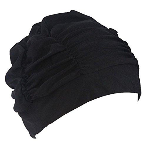 Gift for Friends, Egmy 1PC Newest Swimming Hat Women Unisex Girls Long Hair Bathing Cap Swimming Cap Stretch Drape (Black)