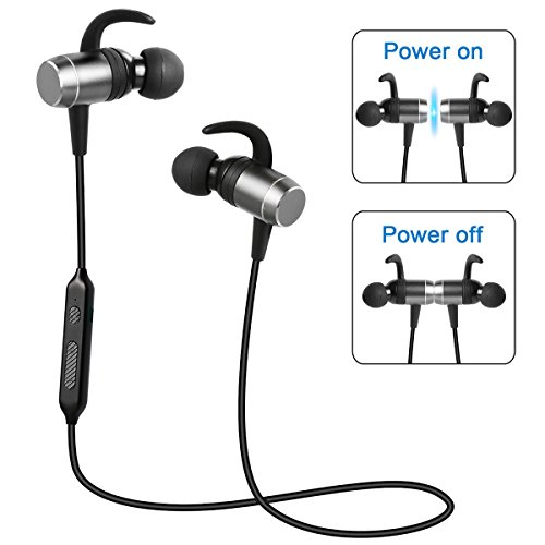 [Magnetic Switch Auto On/Off] Bluetooth Headphones, Besyoyo Magnetic Wireless Bluetooth 4.1 Stereo Earbuds with Mic, Sweatproof in-Ear Sport Earphones Secure Fit for Running Workout (Upgrade Version)