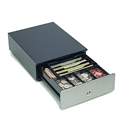 "Mmf Cash Drawer MMF-VAL10-04 MMF Val-U Line Compact Cash Drawer, 4 BILL/4 Coin Till, Stainless Steel Front, PRINTER-Driven with Cable, 9.62"" W x 12.56"" D x 3.5"" H, 24 V, black"
