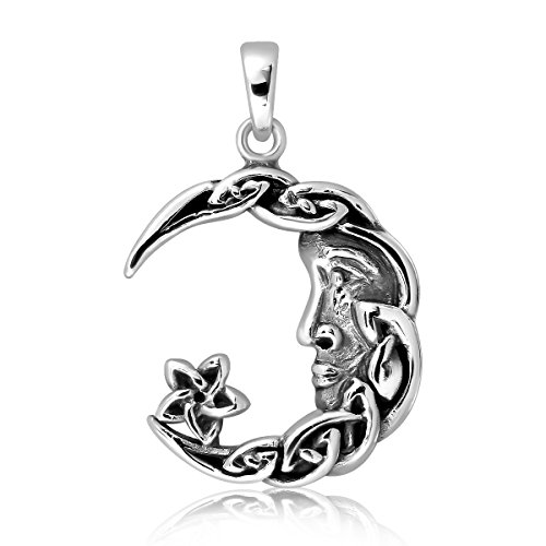- WithLoveSilver 925 Sterling Silver Charm Celtic Star Crescent Moon Pendant