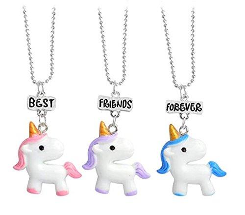 Tmrow 3 Packs Best Friends Forever Kids Children Resin Pendant Necklace