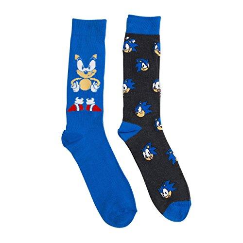 Sega Sonic Men's 2 pack (2 Pair) Blue Crew Socks ()