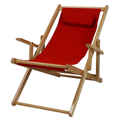 Casual Home Adjustable Sling Chair Natural Frame, Red Canvas