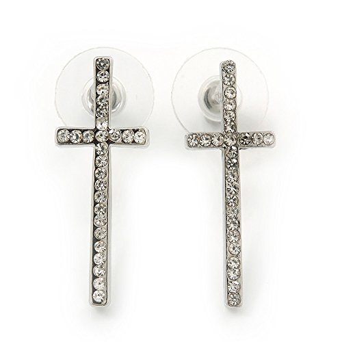 Rhodium Plated Clear Austrian Crystals 'Cross' Stud Earrings - 30mm Length ()